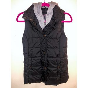 Button up Puffer Vest Zip Up Lining & Hood S